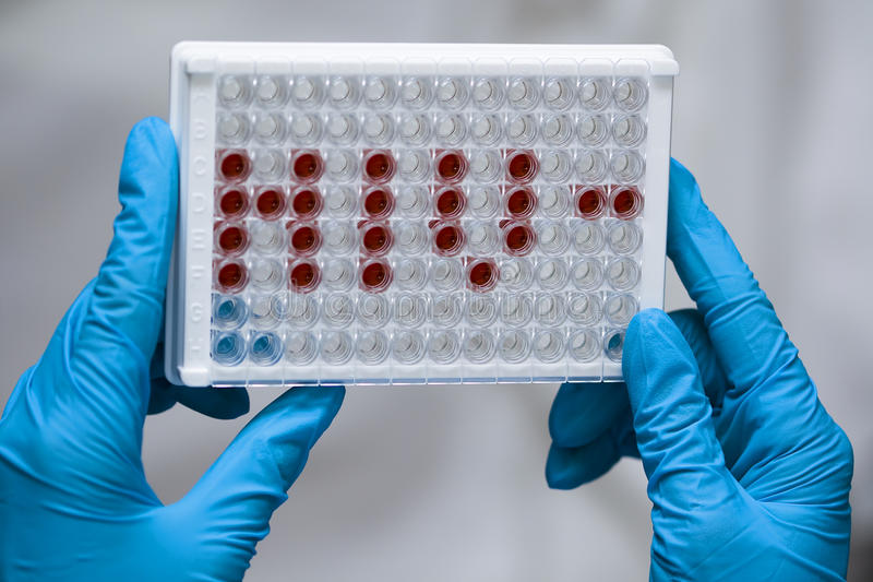 Download Doctor Holds Microplate With HIV Abbreviation Stock Photography - Image: 15522832