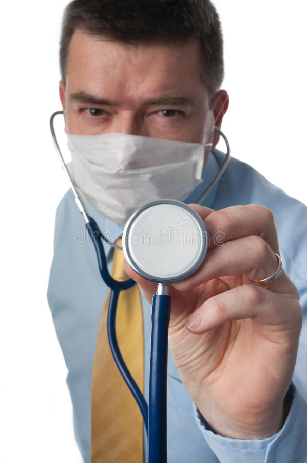 Download Doctor Holds Stethoscope Close Stock Photo - Image of color, general: 18172492