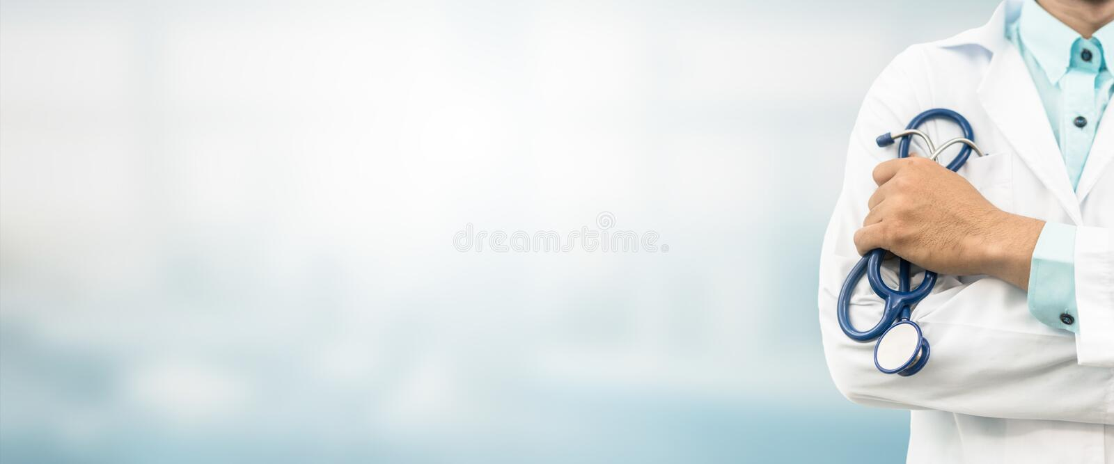Doctor in hospital background with copy space. Healthcare and medical concept stock photos
