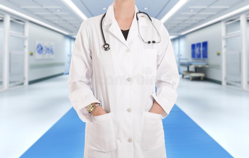 Doctor at the hospital c. Female doctor in a modern hospital royalty free stock photos