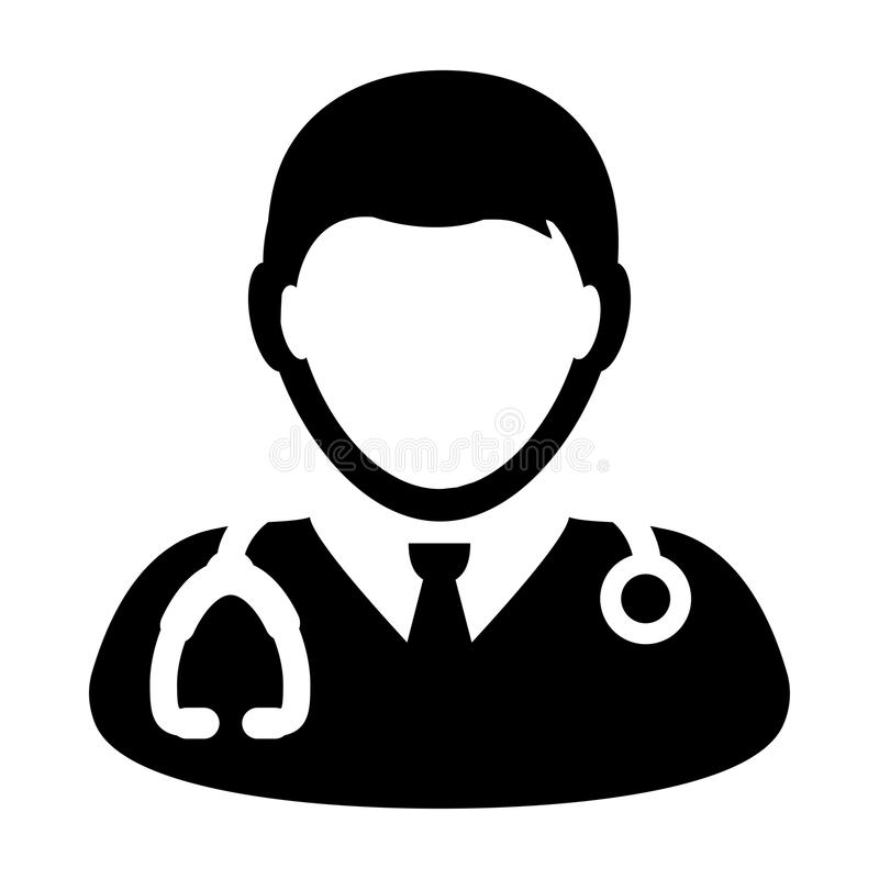 Doctor Icon Vector With Stethoscope Avatar illustration. Doctor Icon Vector Person With Stethoscope Profile Avatar in Glyph Pictogram Symbol illustration vector illustration