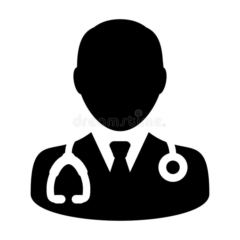 Doctor Icon Vector With Stethoscope For Medical Consultation Stock