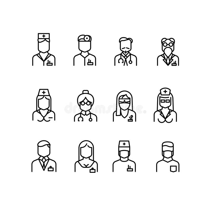 Doctor Icons Nurse Symbols Medical Professionals Vector Avatars