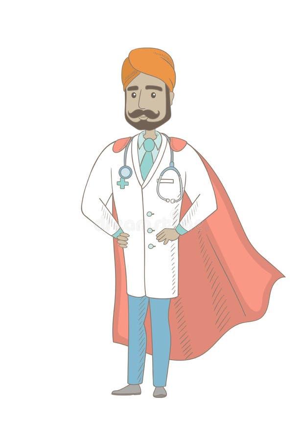 Doctor indio joven vestido como super héroe ilustración del vector