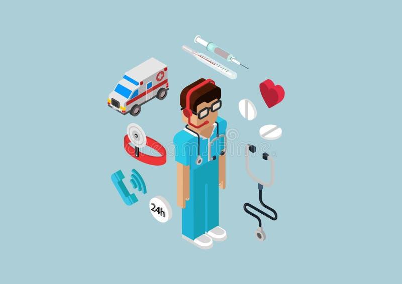 Doctor infographic isométrico plano del servicio de ambulancia de la emergencia 3d libre illustration