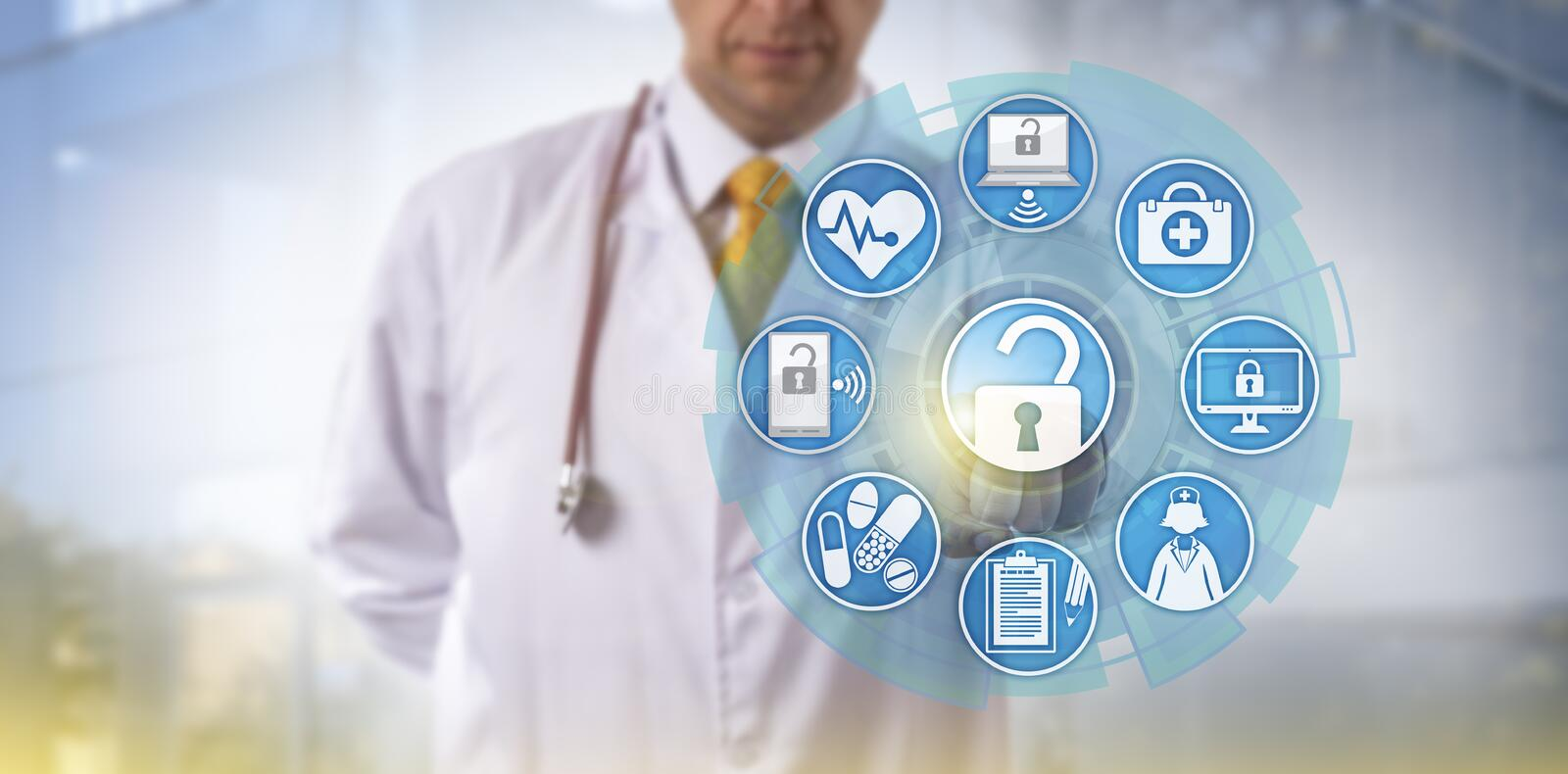 Doctor Initiating Health Information Exchange. Unrecognizable doctor of medicine is accessing online healthcare data via a touch screen interface. Cyber security
