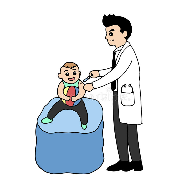 Doctor inject vaccine to baby, vector design illustration hand drawn. Doodle drawing cartoon stock illustration
