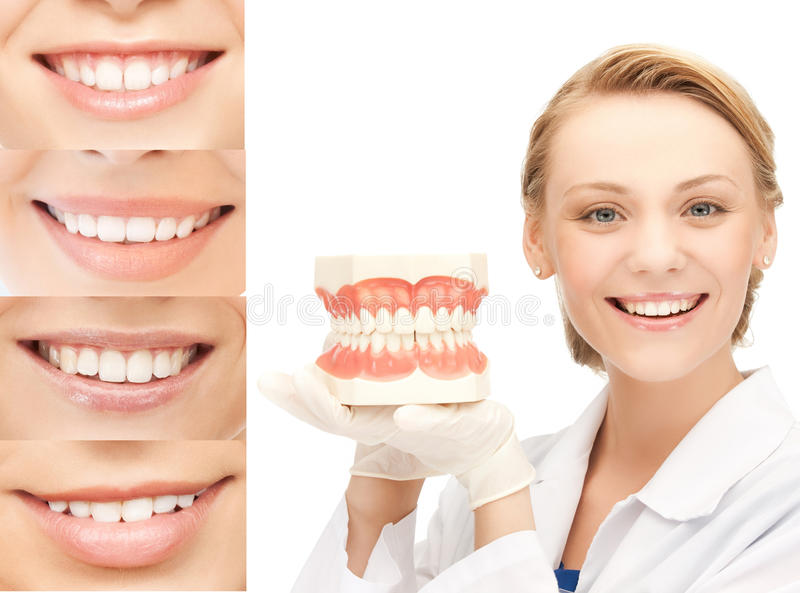 Doctor with jaws and smiles. Healthcare, medical and stomatology concept - doctor with jaws and smiles royalty free stock photos