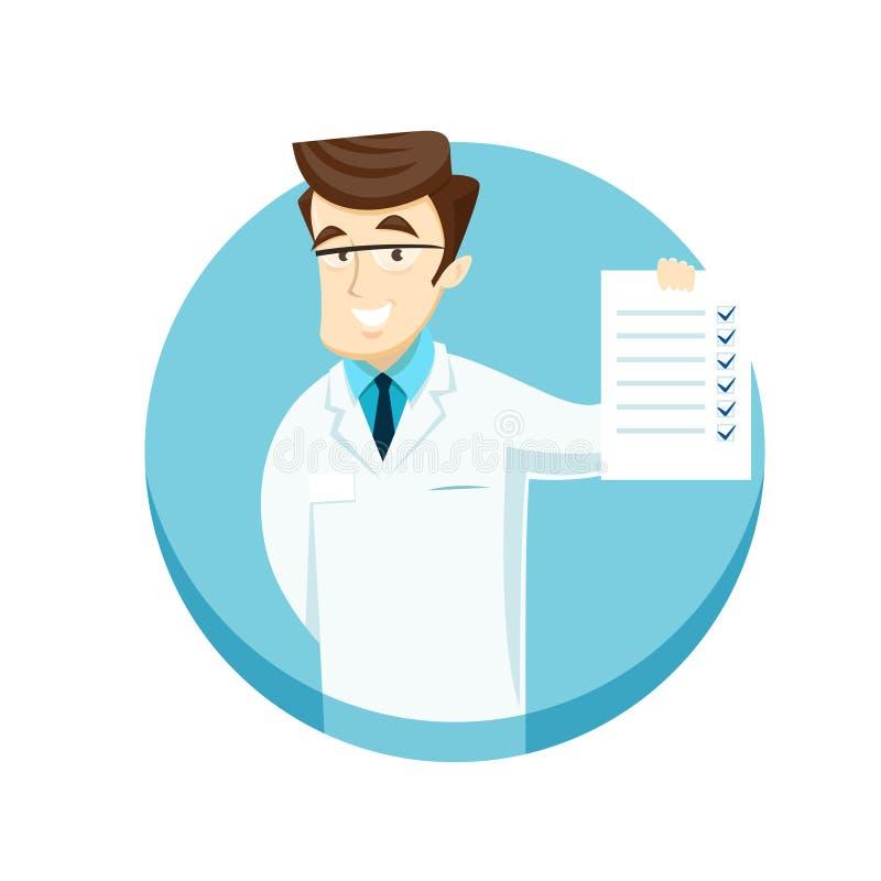 Doctor joven con una hoja del control stock de ilustración