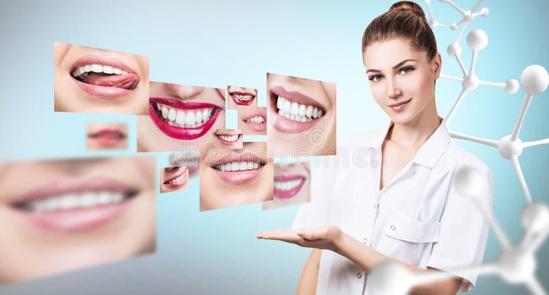 Doctor joven del dentista cerca del collage de sonrisas hermosas sanas fotografía de archivo libre de regalías