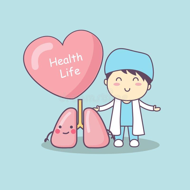 Doctor lindo de la historieta con el pulmón libre illustration