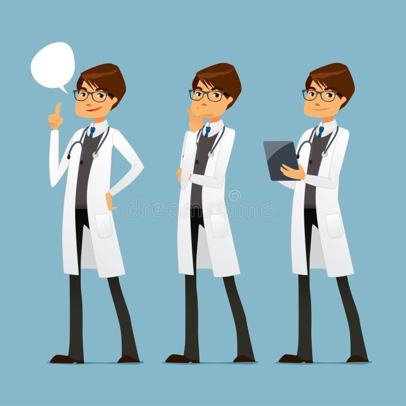 Doctor lindo de la historieta con los vidrios, en diversas actitudes libre illustration