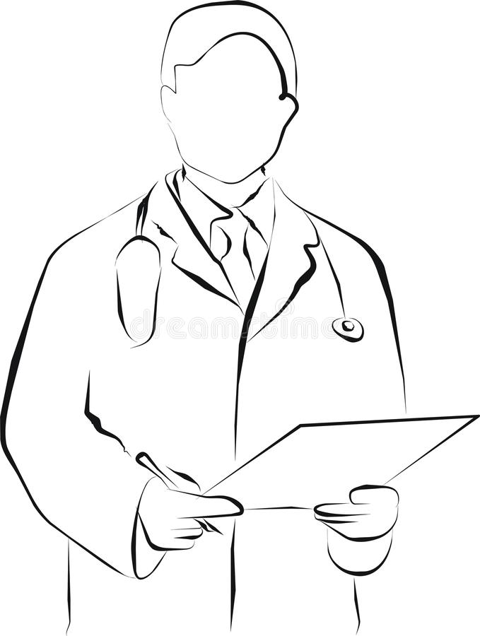 Line Drawing Of A Doctor : Doctor line art stock vector illustration of treatment
