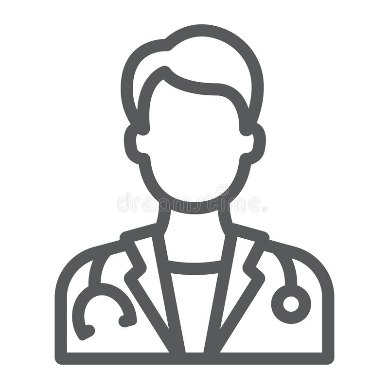 Doctor line icon, medicine and hospital, physician royalty free illustration