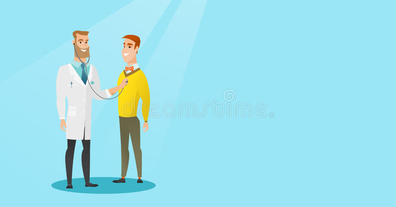 Doctor listening to chest of patient. royalty free illustration