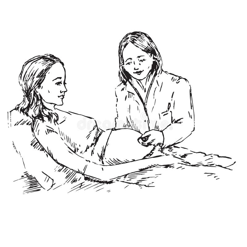 Doctor listens with a stethoscope to a pregnant woman`s belly, hand drawn doodle, sketch. Black and white vector royalty free illustration