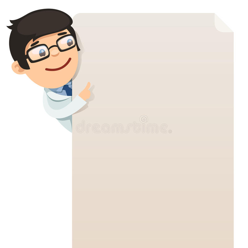 Doctor looking at blank poster vector illustration