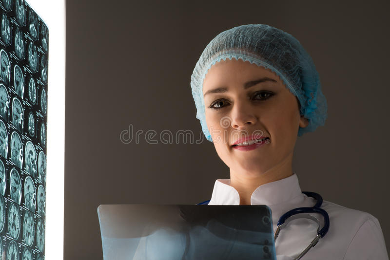 Doctor looking at the x-ray royalty free stock photo