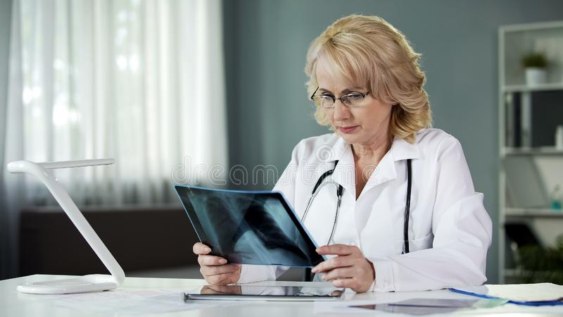 Doctor looking at scan, examining X-ray of patient lungs, health care, medicine stock photography