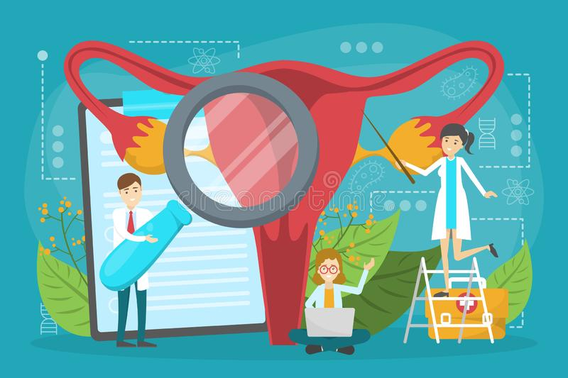 Doctor make uterus examination concept. Gynecology and female. Health. Human anatomy, ovary and womb. Medical treatment. Isolated vector illustration in cartoon royalty free illustration