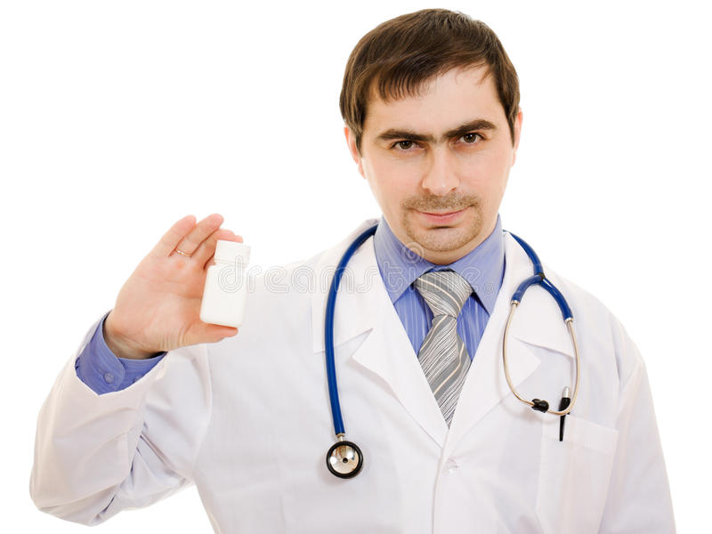 Download The Doctor Man Holding A Container Of Vitamins Stock Image - Image: 24622277