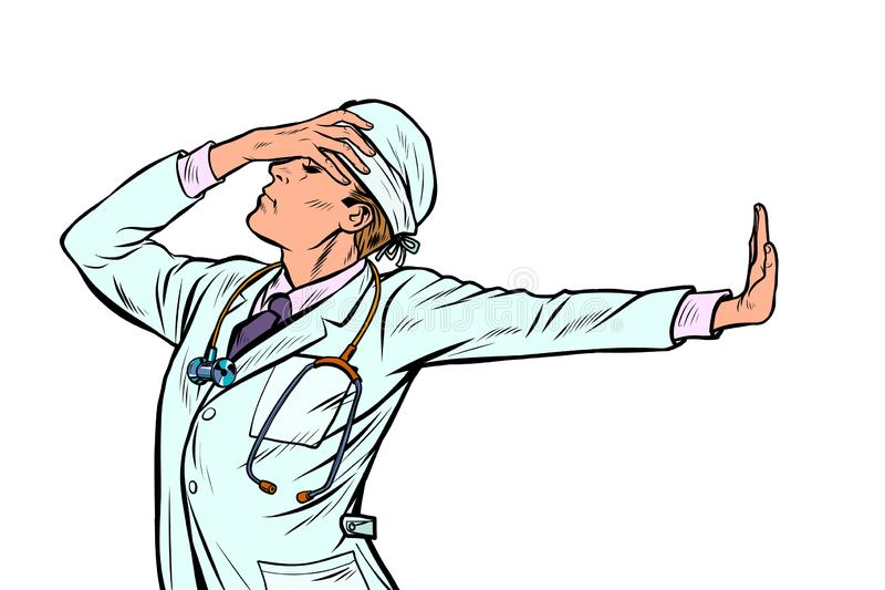 Doctor man medicine. shame denial gesture no. Doctor man medicine. shame, denial gesture, no. Pop art retro vector Illustrator vintage kitsch drawing royalty free illustration