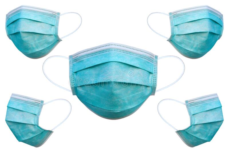 Doctor mask and corona virus protection isolated on a white background, 5 angles medical mask. With clipping path stock photography