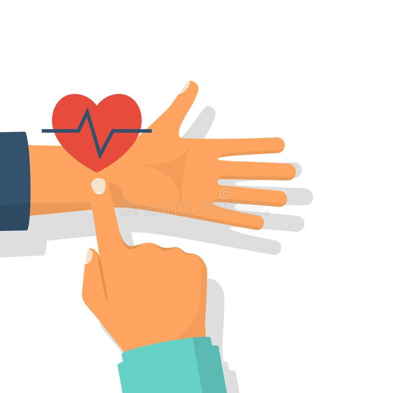 Doctor measurement of pulse. Finger on hand vein. Red heart with a cardiogram. Vector illustration flat design. Isolated on white background. Healthcare royalty free illustration