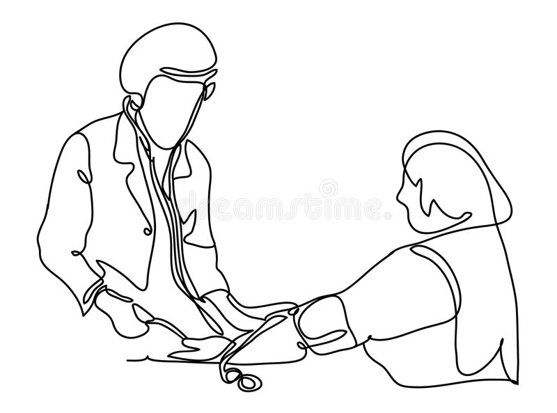 Doctor measures the blood pressure patient. Vector illustration. Isolated on white background. Continuous line drawing vector illustration