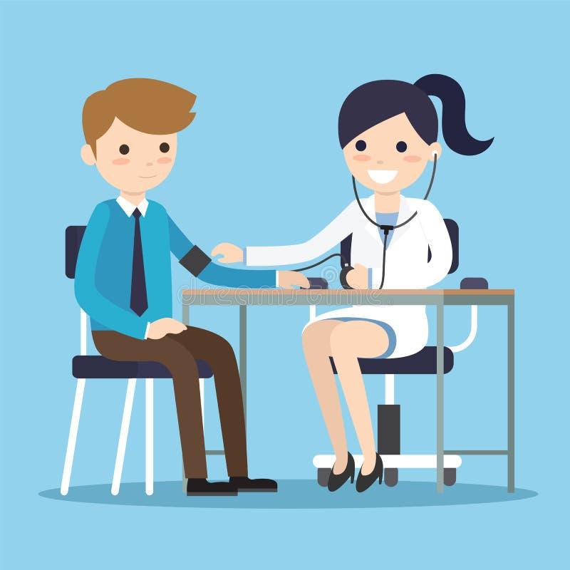 Doctor measuring blood pressure royalty free illustration