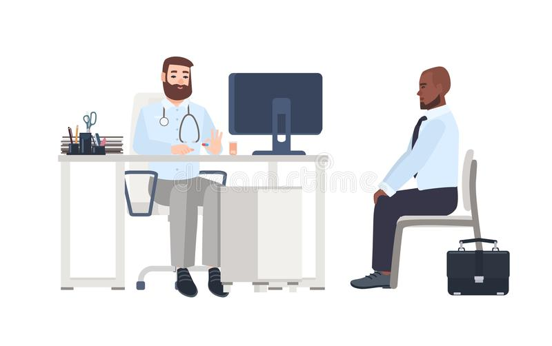 Doctor or medical adviser sitting at desk with computer and giving consultation to male patient. Man at physician s. Office, clinic or hospital. Colorful royalty free illustration
