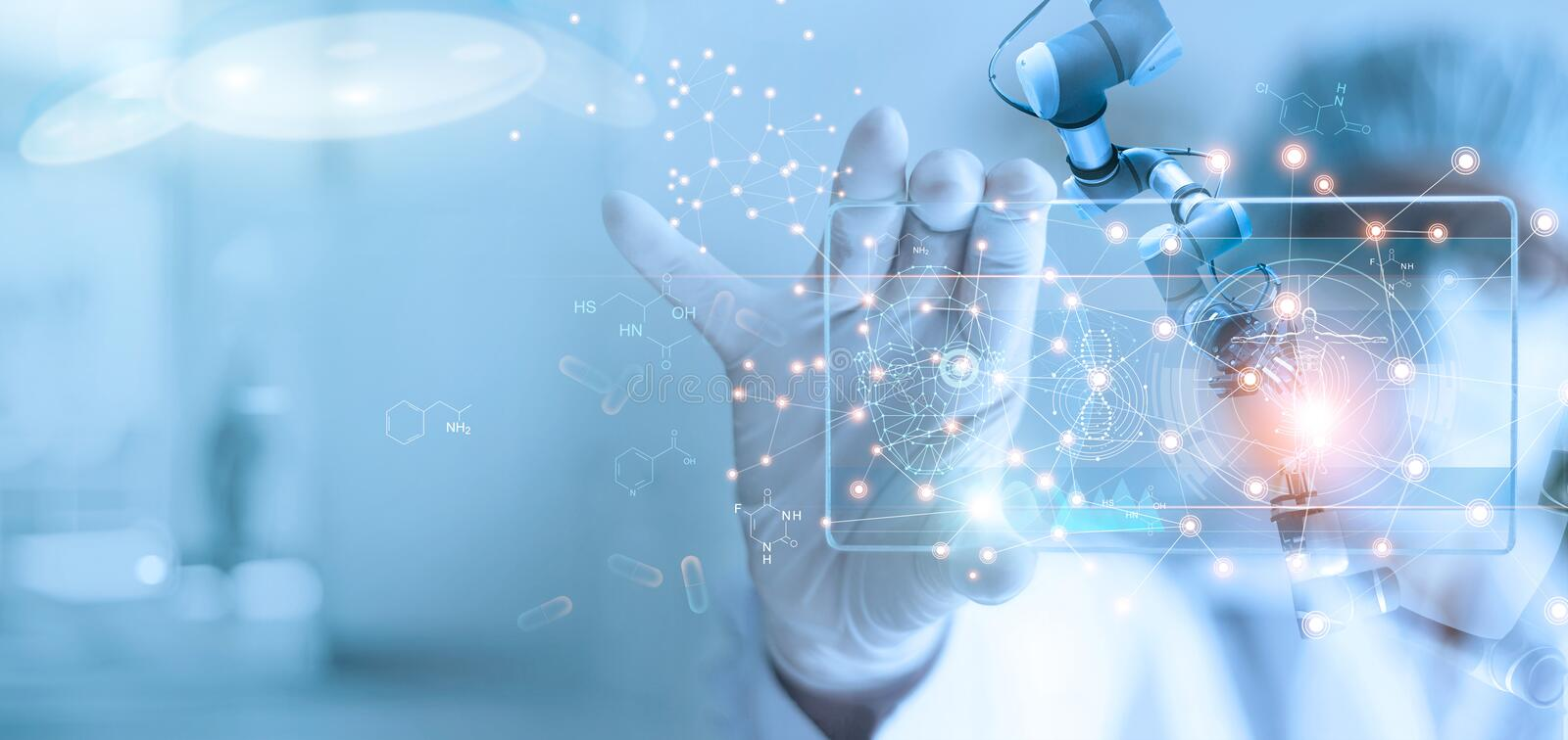 Doctor and medical assistant robot analysis and testing result of DNA on modern virtual interface, science and technology,. Innovative and future of medical royalty free stock photography