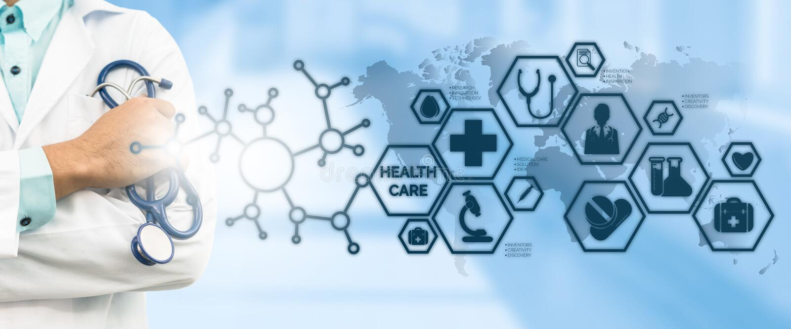 Doctor with Medical Healthcare Icon Interface stock photography