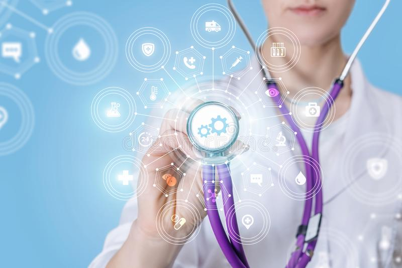 A doctor with a medical service update compound system royalty free stock image