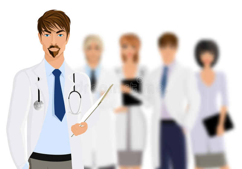 Doctor with medical staff vector illustration