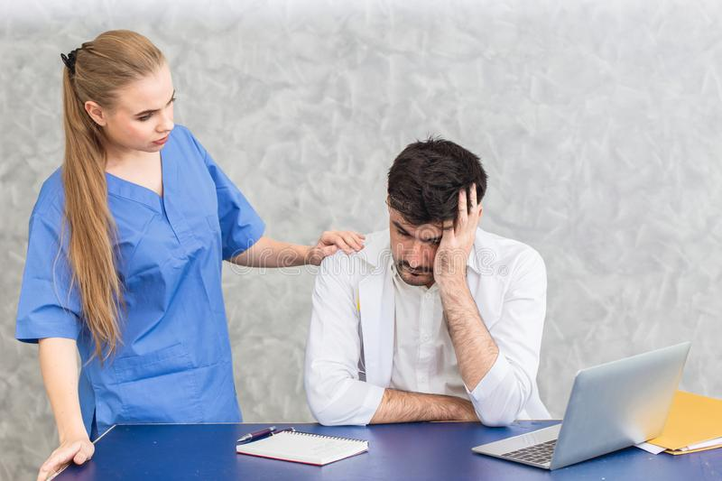 Doctor with mental health problem from Psychosomatic Disorders stress stock image