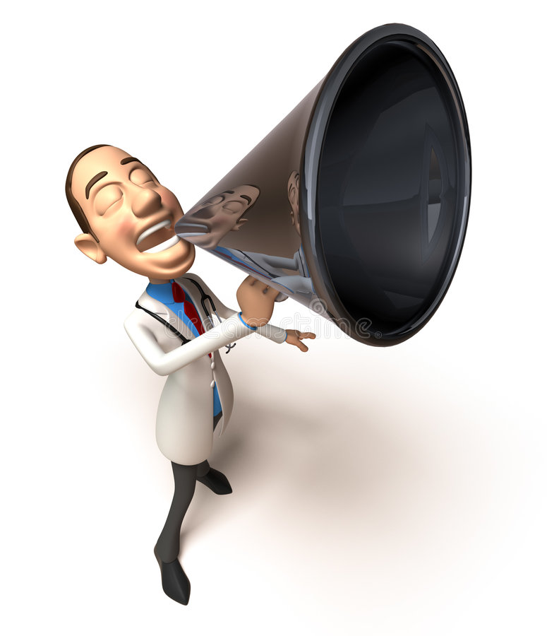 Doctor with a message stock illustration