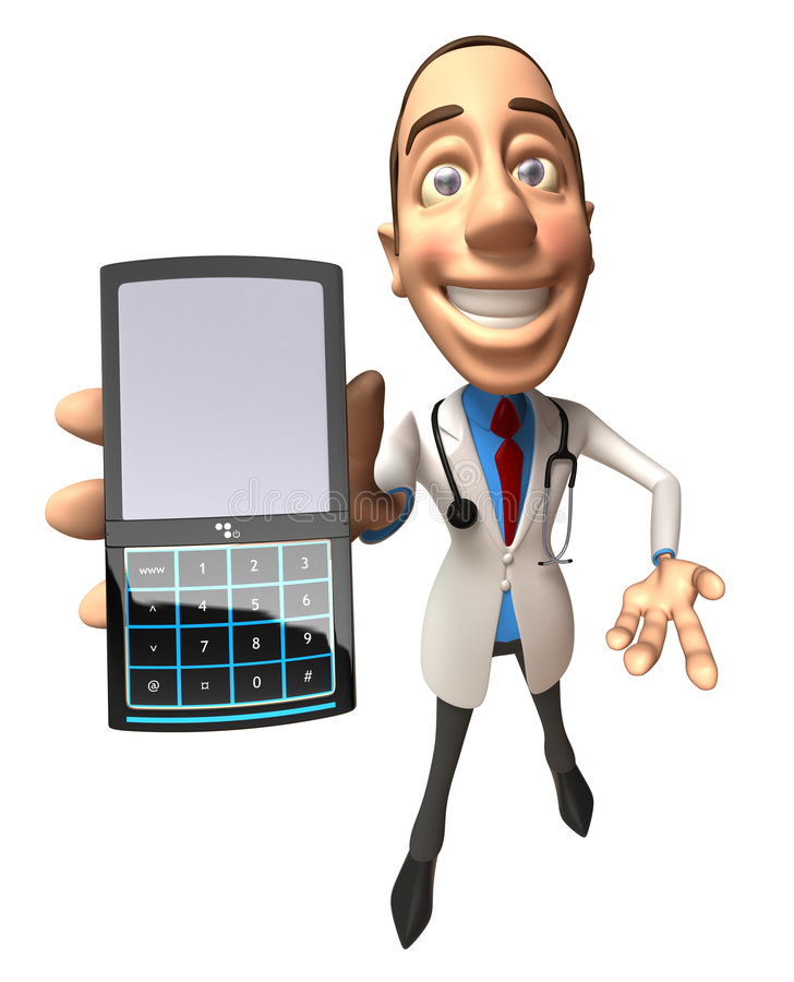 Doctor with a mobile phone stock illustration
