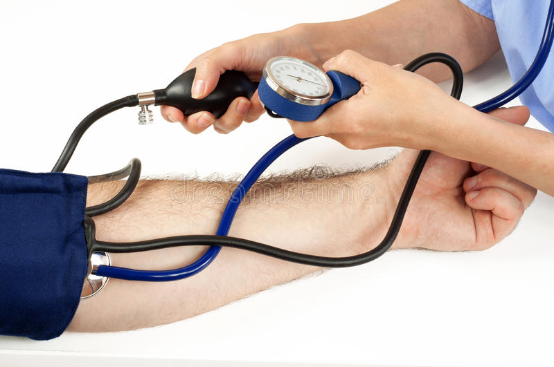 Doctor monitoring the blood pressure of a patient, isolated royalty free stock photo