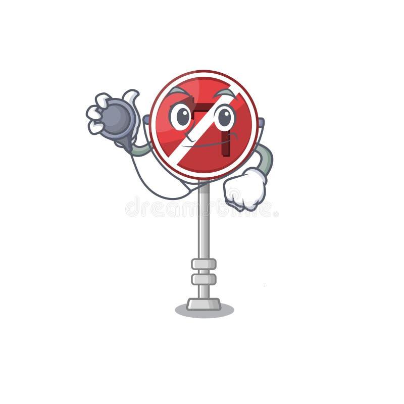 Doctor no left turn on the mascot stock illustration