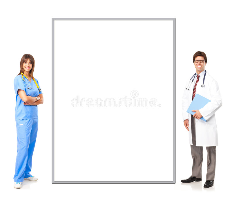 Doctor and nurse. Smiling medical people with stethoscopes. Doctor and nurse over white background royalty free stock photo