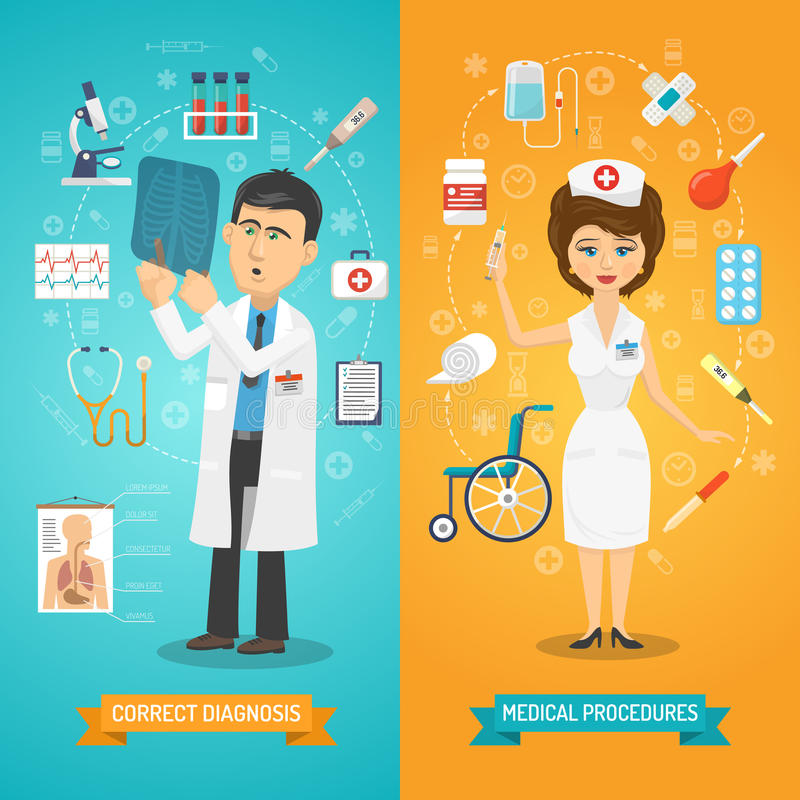 Doctor And Nurse Banner royalty free illustration