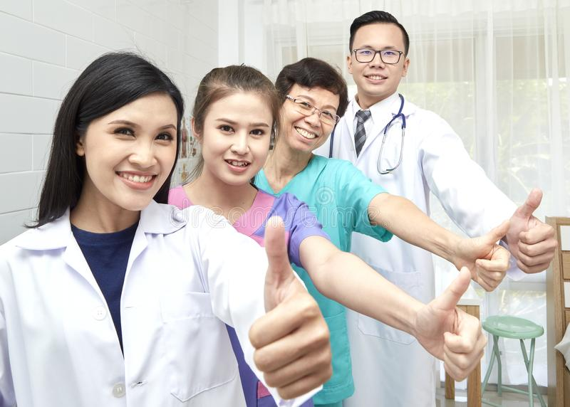 Doctor and nurse group meeting in hopital stock photography