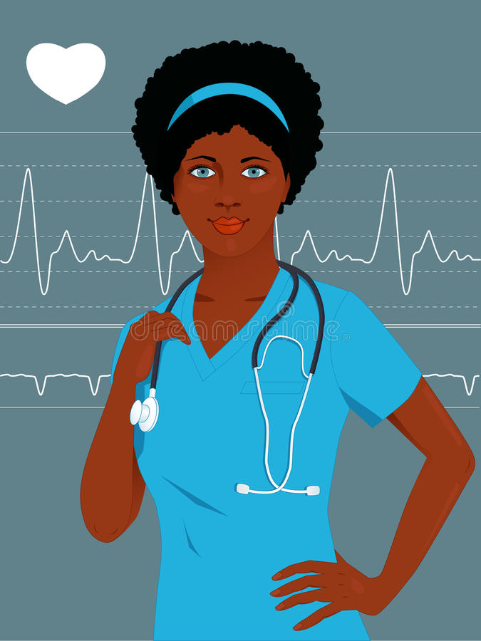 Doctor or nurse with a heart monitor. Young African-American female healthcare professional in hospital scrubs, with stethoscope, heart monitor on the background royalty free illustration