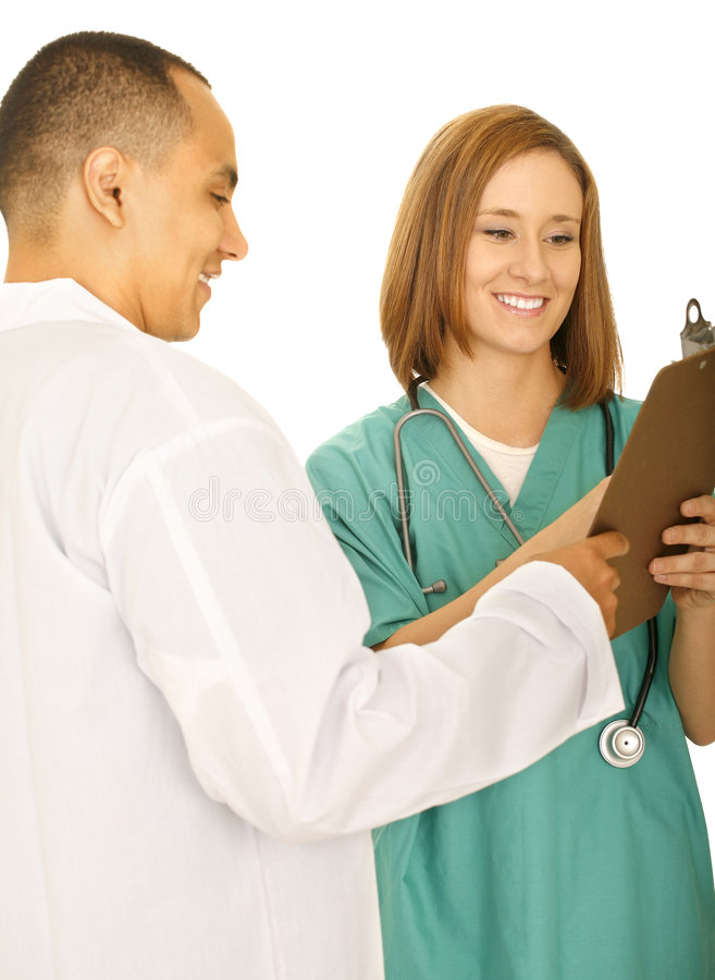 Download Doctor And Nurse Holding Clip Board Stock Image - Image of caucasian, medic: 6025303