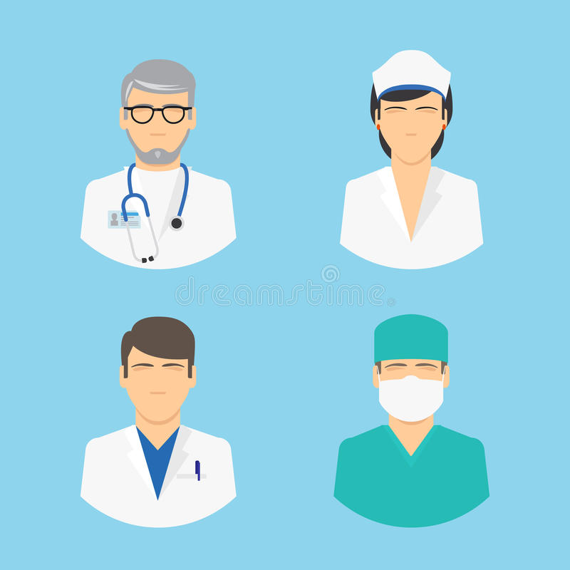 Doctor and nurse icons vector illustration