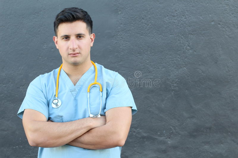 Doctor or nurse looking serious with arms crossed.  stock images