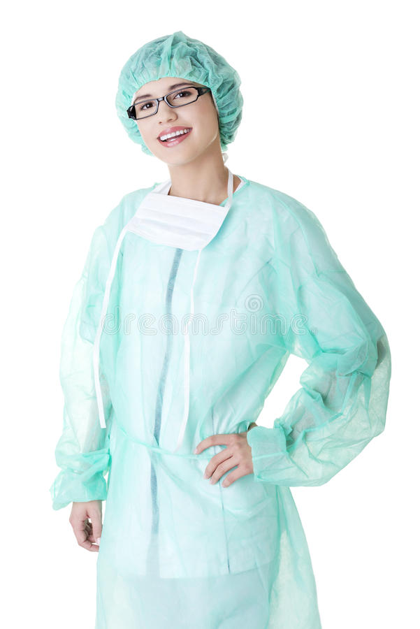 Download Doctor Or Nurse With Mask And Cap Stock Image - Image of caucasian, medic: 26392529