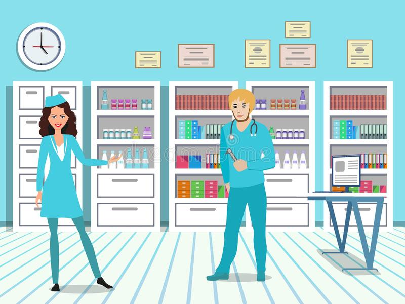 Doctor and nurse in a medical office. Cabinets in the interior of the clinic. vector illustration