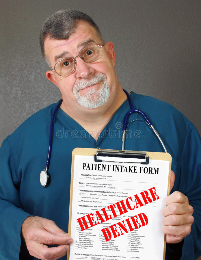 Mature Doctor Displays Healthcare Denied stock photo